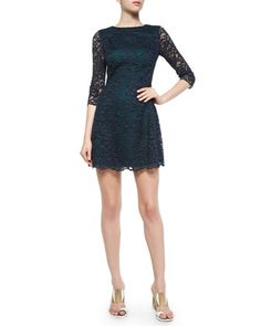 3/4-Sleeve+Lace+Dress+by+Tory+Burch+at+Neiman+Marcus.