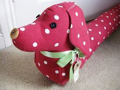 Vintage Style Sausage Dog Draught Draft Excluder - Red Dotty  £29.50