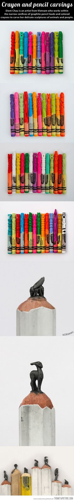 Sometimes I need to remind myself that art isn't just on paper or canvas: Mind-blowing crayon and pencil carvings…