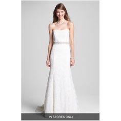 BLISS Monique Lhuillier Embroidered Lace Trumpet Dress (In Stores Only) available at Strapless Lace Wedding Dress, 2015 Wedding Dresses, Sweetheart Wedding Dress, Wedding Suits, Wedding Gowns, Lace Dress, Wedding 2015, Gold Dress, Monique Lhuillier