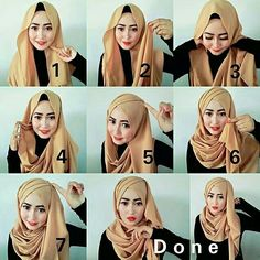 Tutorial Hijab by @prismakesuma96 . . Matt : Pashmina Cerruti . . Step :  1. Pakai pasmina tidak sama panjang.  Lalu pentul salah satu bagian yg pendek di bawah dagu. 2.3. Ambil ujung bagian yg panjang lalu ditarik melingkar kebelakang leher. Seperti gambar. 4.5. Lalu bagian yg sudah ditarik dari belekang leher tadi kemudian dibawa ke atas membentuk seeperti di gambar . Lalu pentul. 6.7. Dan sisa bagian yg pendek td ambil ujungnya dan di pentul di atas . Lihat gambar. Rapikan  Selesai..  .