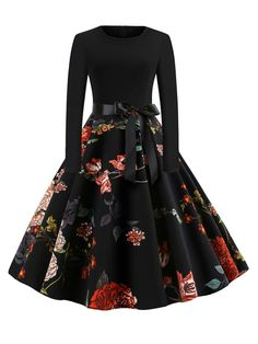 Vintage Floral Ball Gown Regular Fit Round Neck Long Sleeve Natural Black Midi Length Floral Print Zip Back Dress with Belt Vintage Floral Ball Gown Regular Fit Round Neck Long Sleeve Natural Black Midi Length Floral Print Zip Back Dress with Belt Teen Fashion Outfits, Mode Outfits, Cute Fashion, Look Fashion, Fashion Dresses, 1960s Fashion, Fashion Women, Cute Prom Dresses, Pretty Dresses