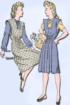 1940s Vintage Misses Jumper Dress 1943 Advance VTG Sewing Pattern 3337 Size 12