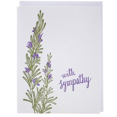 This sympathy card is an understated way to say you're thinking of your friend or loved one while they go through a difficult time. front greeting: with sympathy inside greeting: blank DETAILS - lette