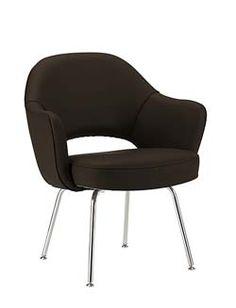 "DWR Saarinen Executive Armchair - Metal Legs - Leather 25.5""w x 24.5""d x 31.5""h  seat: 18""h"