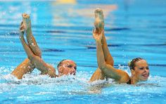 Sona Bernadova and Alzbeta Dufkova of Czech Republic compete in the Women's Duets Synchronised Swimming Technical Routine on Day 9 of the London 2012 Olympic Games at the Aquatics Centre  on August 5, 2012 in London, England.