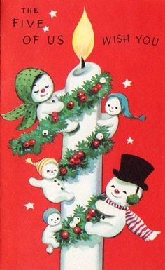 The five of us wish you... #vintage #Christmas #cards #snowmen
