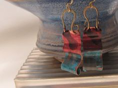 Rothkoesque - Patinated copper and brass undulating earrings!