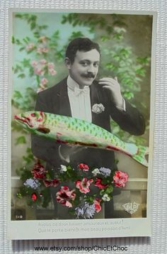 Unused French April 1st Postcard - Man Holding a Large Fish (Poisson D'Avril) by ChicEtChoc on Etsy