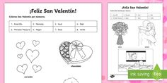 Valentine's Day Colour by Number Spanish - Valentines Day, 14th February, colour by number, colouring, activity, sheet, worksheet