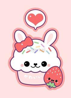 'Cute Bunny Cupcake' Art Print by sugarhai Cupcake Drawing, Cupcake Art, Cupcake Birthday, Birthday Diy, Birthday Cards, Birthday Gifts, Bunny Cupcakes, Cute Cupcakes, Kawaii Doodles