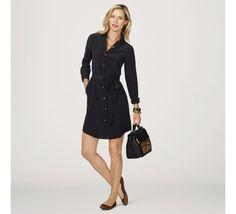 Dresses for Women - Silk Tie Waist Shirtdress