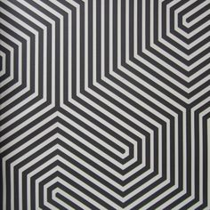 GEOMETRIC... Labyrinth in Black & Beige by Cole & Son | gives me Tron flashbacks. I love this. sorry I couldn't find a shot of it on a wall.