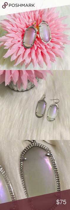 Iridescent Slate Elles in Silver Super cute!!😍 one tiny dot on one earring as shown in last pic. No trades. Kendra Scott Jewelry Earrings