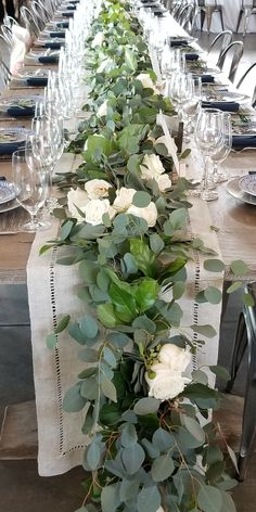 garland of flowers Lush Green eucalyptus garland wedding table runner. Wedding Table Garland, Wedding Centerpieces, Wedding Decorations, Table Wedding, Wedding Ideas, Wedding Ceremony, Wedding Table Runners, Shower Centerpieces, Centrepieces