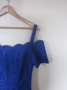 VINTAGE authentic 80s original retro electric royal blue lace cocktail party dress (equiv sz us 6, uk au nz 10, eu 38) by shopblackheart on Etsy
