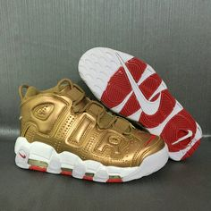 super popular ff426 78c93 2018 Legit Cheap Nike Air More Uptempo Gold Metallic Gold White Red