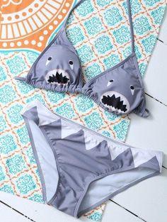 Patrón de dibujos animados Shark cabestro bikini
