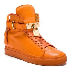 d7047c33943 Buscemi Orange Womens Alta Sneakers Gold Lock Locks Plated Hidden Wedge  High Tops Sneakers Size US 6 Regular (M