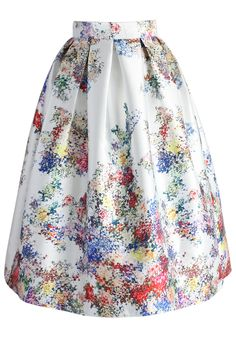 Pixel Flowers Midi Skirt in Pearl-white - New Arrivals - Retro, Indie and Unique Fashion