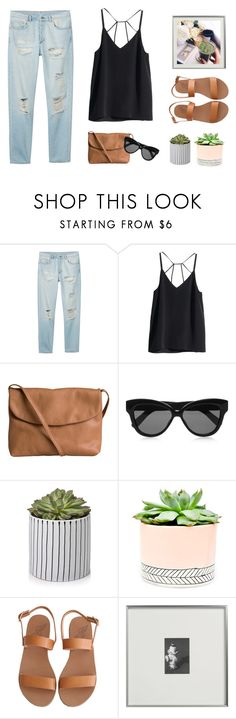"""Never underestimate the power of good morning texts, apologies and random compliments"" by anna-lena-als ❤ liked on Polyvore featuring Monki, H&M, Pieces, Linda Farrow, Hostess, Ancient Greek Sandals and CB2"