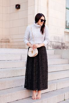 lace maxi skirt: Holiday outfits on Kendi Everyday