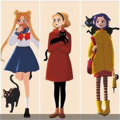 Sailor moon, Chilling Adventures of Sabrina, Coraline Coraline Drawing, Coraline Costume, Coraline Aesthetic, Character Art, Character Design, Tim Burton Beetlejuice, Nerd, Pin Up Cartoons, Funny Cats