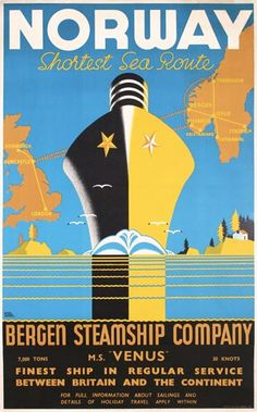 vintage travel posters norway | 257: Original Norway Steamship Travel Poster 1940s