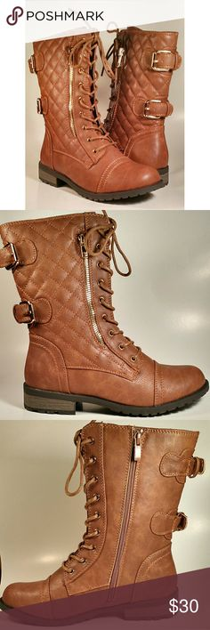 TAN QUILTED COMBAT BOOTS Faux leather material. Side zip closure. Gold zipper detail. Fits true to size. Shoes Combat & Moto Boots