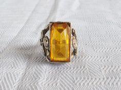 1920's Vintage Sterling Silver Art Nouveau Ring Possible Czech Glass by MyVintageHatShop on Etsy https://www.etsy.com/listing/157745381/1920s-vintage-sterling-silver-art