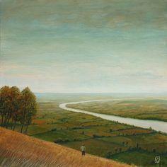 "Philippe Charles Jacquet, La rivière, 2014, Oil On Board, 23½"" x 23½"" #art #surreal #axelle #twilight #field #landscape"