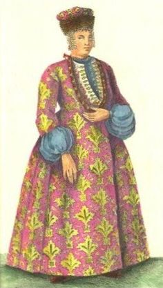 Russian traditional costume of a Don Cossack woman. XVII - XVIII centuries