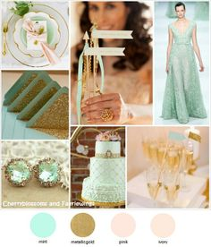 Mint + Gold. I want this without the peaches, with Metallic Silvers and Gray