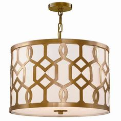 """This traditional trellis pattern makes a bold modern statement on this drum shade chandelier. The cut metal design creates a striking contrast against the white linen drum shade fabric. A bottom white glass diffuser is held in place with a simple ball finial. The diffuser keeps the look clean and simple and perfect for hotel corridors and conference rooms. Choose from Polished Nickel or Antique Brass finish.3x100 watt max medium base sockets. (12.25""""Hx18.25""""W). Supplied with 72""""..."""