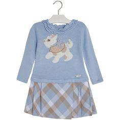 Vestido combinado con intarsia Azules - Mayoral