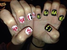 Joker vs Batman Nails by Heather @ SaVain Salon & Spa Oviedo,Fl