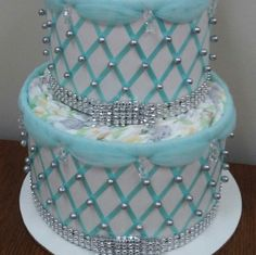 Elegant Robin's Egg Blue and Silver 3 Tier Diaper Cake
