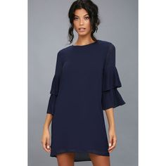 61e7331698d Move and Shake Navy Blue Shift Dress ( 49) ❤ liked on Polyvore featuring  dresses