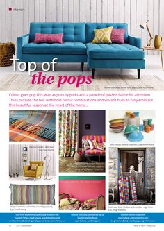 ~ Top of the pops ~ Go for a splash of colour this spring... #interiors #inspiration #ideas #colour #bright #bold #spring