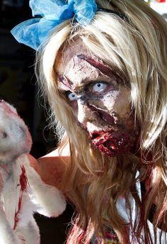 zombie hair/makeup/wardrobe / fx by Kristal Shannon photo by Karl Ault Zombie Hair, Zombie Makeup, Sfx Makeup, Costume Makeup, Hair Makeup, Halloween Hair, Halloween Horror, Halloween Makeup, Halloween Costumes