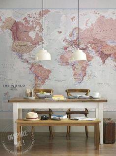 Neutral World Map Wallpaper Mural