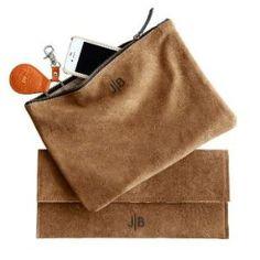 suede monogrammed pouch + clutch