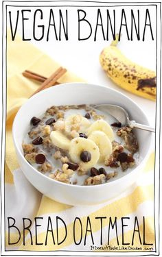 Tastes just like the best slice of still-warm banana bread that you've ever had. No baking required! Best Vegan Recipes, Vegan Breakfast Recipes, Whole Food Recipes, Vegetarian Recipes, Breakfast Ideas, Cake Recipes, Cooking Recipes, Healthy Recipes, Healthy Breakfasts