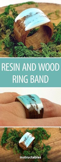 Resin and Wood Ring Band - Schmuck herstellen Resin Crafts, Wood Crafts, Diy And Crafts, Wood Resin, Resin Art, Easy Small Wood Projects, Resin Jewlery, Diy Resin Ring, Resin Tutorial