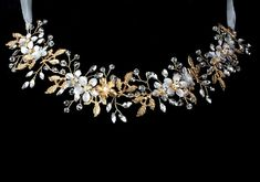 Gold Floral Crystal and rhinestone Vine Wedding Headband   Etsy Bridal Comb, Wedding Headband, Affordable Bridal, Flowering Vines, Floral Headbands, Gold Flowers, Wedding Day, Budget Wedding, Beaded Lace
