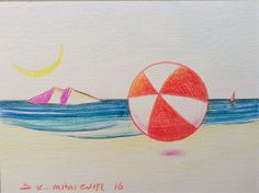 Milionis - Beach Ball - Original Signed Colored Drawing  on Paper Greek Art #Modernism