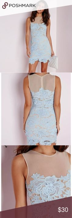 """Missguided Sleveless Floral Lace Dress sz 2 NWT sleeveless floral lace mesh mini dress in powder blue size 2   100% Polyester  MEASUREMENTS: 33"""" Length  14"""" pit to pit 24"""" waist Missguided Dresses Mini"""