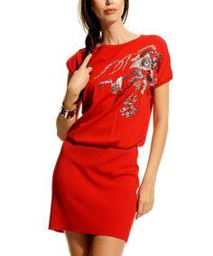 Look at this #zulilyfind! Red Sequin Blouson Dress by Jus De Pommes #zulilyfinds