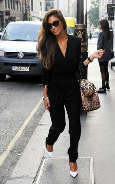 529d8ae064ed Spott - Nicole Scherzinger combines a black jumpsuit with a pair of white  heels