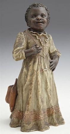beautiful Black Americana (Goldscheider painted) terracotta figure, 19th c. I love this figurine,